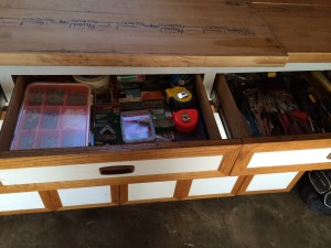 After - Work bench accessible and organized